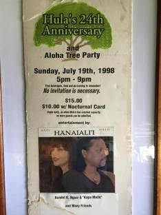 Hula's Bar and Lei Stand 24th Anniversary Poster and Flyer with Willie K and Amy Hanaiali`i